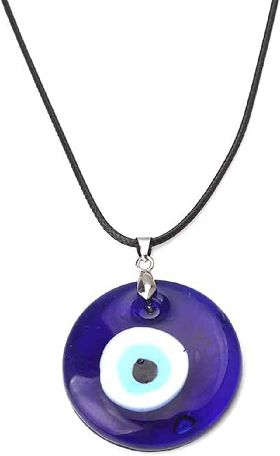 COLORFUL BLING Set Boho Evil Eye Round Teardrop Wax Rope Cotton Necklace Choker Collar Chain Party Jewelry for Women Girls Gifts Dainty Tiny Cute Adjustable Turkish Protect Lucky