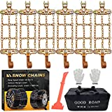 Snow Chains, Tire Chains for Suvs, Cars, Sedan, Family Automobiles,Heavy Trucks with Update Adjustable Lock for Ice, Snow,Mud,Sand,Applicable Tire Width 225-315mm/8.8-12.4in(6 Pack)