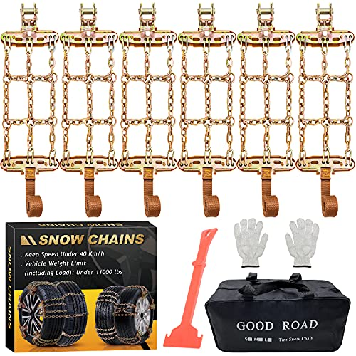 Newest Snow Chains, Tire Chains for Suvs, Cars, Sedan, Family Automobiles,Heavy Trucks with Update Adjustable Lock for Ice, Snow,Mud,Sand,Applicable Tire Width 6.5-8.8in/165-224 mm (6PCS)