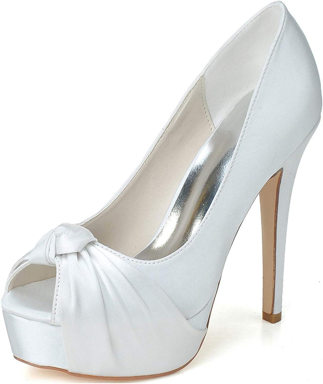 LLBubble Women's High Heels Platform Peep Toe Wedding Party shoes Satin Formal Party Prom Evening Dress Pumps 3128-23A