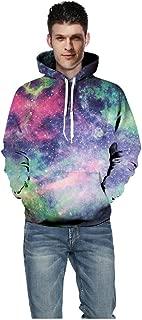 LONGDAYSweatshirt Pocket Christmas Halloween Unisex 3D Novelty Hoodies Graphic Pattern Print Galaxy Pullover