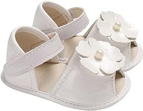 lakiolins Baby Girl Pearl Flowers Open Toe Sandals Wedding Princess Dress Shoes Crib Shoes