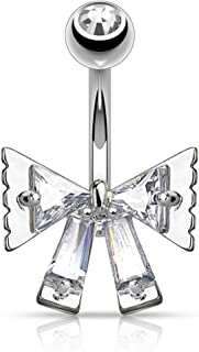 Triangle CZ and Princess Cut CZ Ribbon 316L Surgical Steel Belly Button WildKlass Navel Rings (Sold by Piece)
