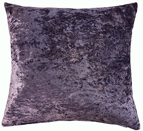 2 X LUXURY SOFT CRUSHED VELVET PURPLE AMETHYST CUSHION COVERS 18' - 45CM