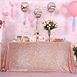 Blxsif Rose Gold Sequin Tablecloth - Glitter 60x85 Inch Rectangle Sparkle Rose Gold Table Cover for Party Wedding Christmas Sparkly Table Cloth
