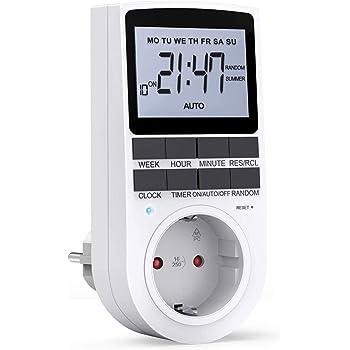 RATEL Temporizador Digital Programable, Enchufe Programador con herramienta de reinicio y modo aleatorio antirrobo Pantalla LCD grande 12/24 Horas, Diario/Semanal Ahorrar Energía y Dinero