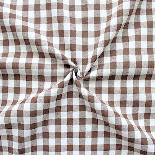 STOFFKONTOR 100% Baumwollstoff Stoff Züchen Vichy Karo groß - Öko-Tex Standard 100 - Meterware, braun-Weiss - zum Nähen von Bekleidung, Vorhängen, Bettwäsche, Dekorationen UVM.
