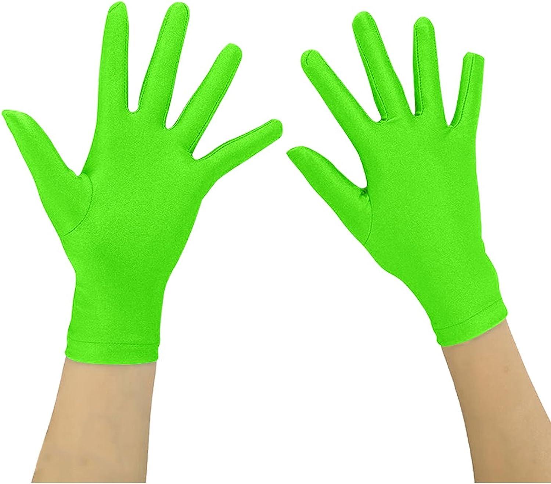 Ensnovo Adult Wrist Length Spandex Full Finger Stretchy Short Gloves Black M : Clothing, Shoes & Jewelry