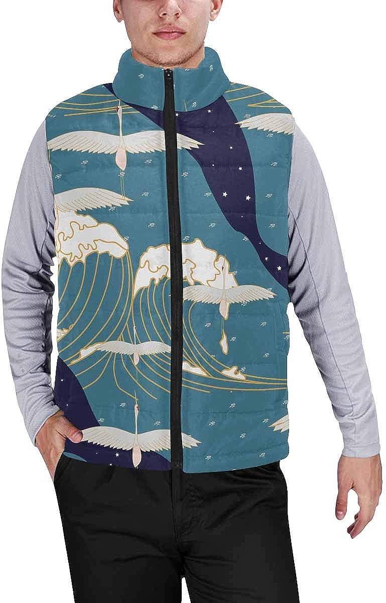 InterestPrint Men's Winter Full-Zip Outwear Padded Vest Coats White Gypsophila