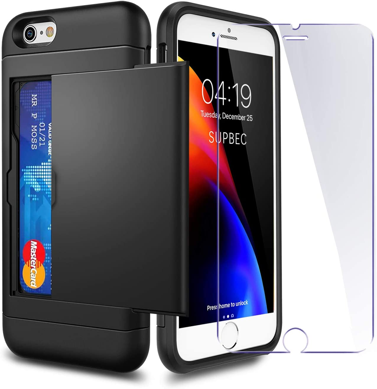 iPhone 7/8 / SE 2020 Case with Card Holder and[ Screen Protector Tempered Glass x2Pack] SUPBEC i Phone 7/8/SE 2 Wallet Case Cover with Shockproof Silicone TPU + Hard PC Full Protective-Black