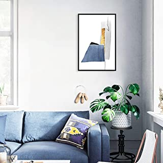 MOTINI Abstract Wall Art Framed Blue and Gold Geometric Watercolor Arts Picture Acrylic Prints Modern Contemporary Decor for Living Room Bedroom Office, 16