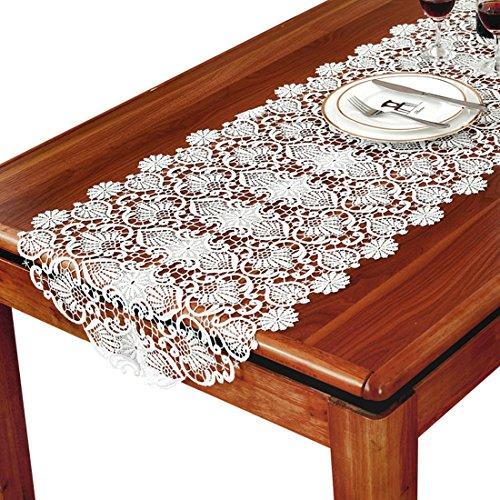 TaiXiuHome blanc floral broderie dentelle de style européen Chemin de table avec translucide gaze tissu pour décorer les maisons les hôtels les mariages et Noël 50 x 280cm