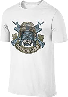 AHDDO White Cool Dog Soldier with Crossing Assault Rifles Men's Short Sleeve T-Shirt