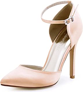 Women's Pointed Toe High Heel Ankle Strap D'Orsay Satin Dress Pumps