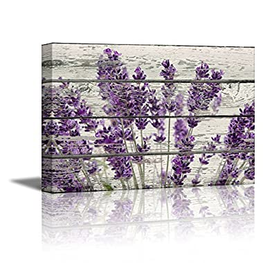 wall26 Rustic Home Decor Canvas Wall Art - Retro Style Purple Lavender Flowers on Vintage Wood Background Modern Living Room/Bedroom Decoration Stretched and Ready to Hang - 16  x 24