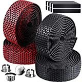 4 Rolls Bike Handlebar Tapes EVA Bicycle Bar Tape with 4 Bar Plugs and 4 Finishing Tapes Cycling Handle Wraps for Touring Cycling and Road Racing (Black and Red)