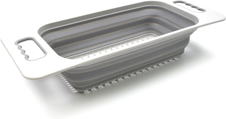 SAMMART Colador rectangular sobre el fregadero (gris)