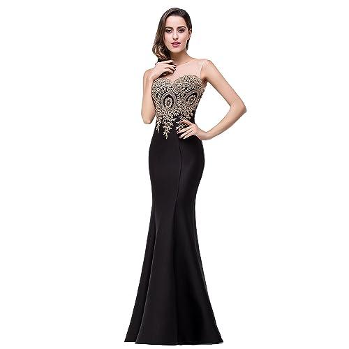 dcc61654f7e Babyonline Women s Lace Applique Long Formal Mermaid Evening Prom Dresses