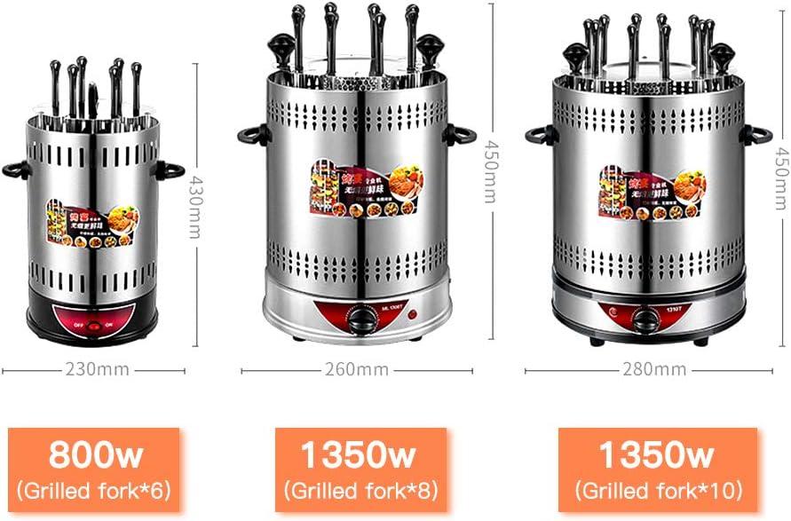 Demoke Barbecue Électrique, Gril Vertical sans Rotation à 360 °, Brochettes d'agneau, Facile à Nettoyer, Bac à Huile Intégré, Brochettes 6/8/10 6 forks