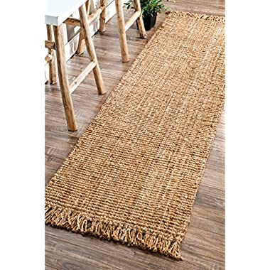 nuLOOM Natural Hand Woven Chunky Loop Jute Runner, 2' 6  x 8'