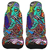 PEKIVIDE Car Seat Covers 2 Pack, Acid Trippy Leaking Smiley Face Cushion Front Protectors Universal Fits for Most Cars Trucks Vans SUV