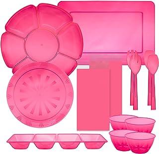 Party Essentials 16 Piece Plastic Bachelorette Party Serveware Kit; Bowls, Trays, Utensils, Neon Pink (N602327)