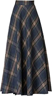 Women's Wool Maxi Skirt A-Line Thick Vintage Plaid Pleated Skirt Autumn Winter Long Skirts