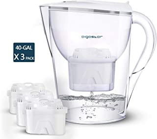 Aigostar Pure Water Pitcher with Filter 10 Cups – Incl. 3 x 60-Day Water Filter Cartridges Reduces Lead, Fluoride, Chlorin...