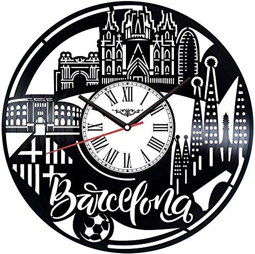 XYVXJ El Reloj de Pared con Disco de Vinilo de Barcelona Ofrece Regalos Decorativos únicos Hechos a Mano para Hombres, Mujeres, Amigos y niños.