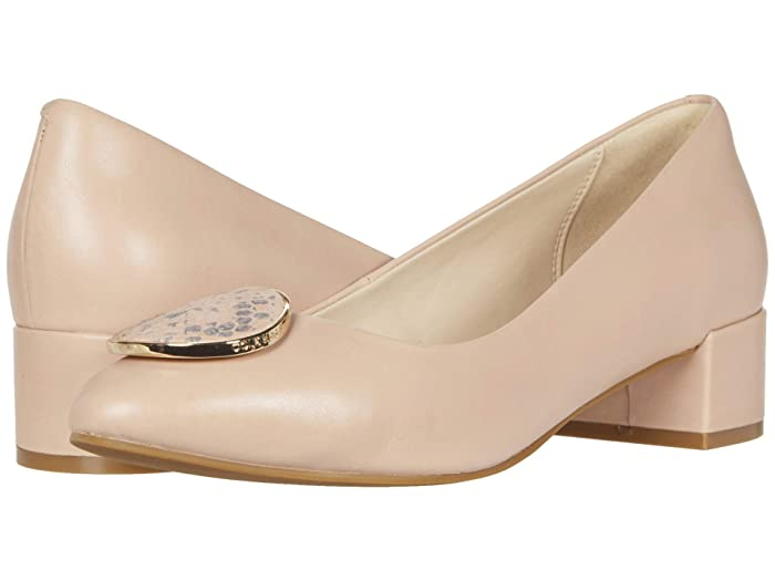 Cole Haan  Nala Pump WP (35 mm) (Mahogany Rose Leather/Tonal Chalk Python Print Leather/Gold) Womens Shoes
