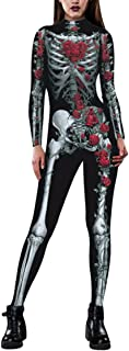Selowin Womens Halloween Skeleton Print Costume Stretch Skinny Catsuit Jumpsuit