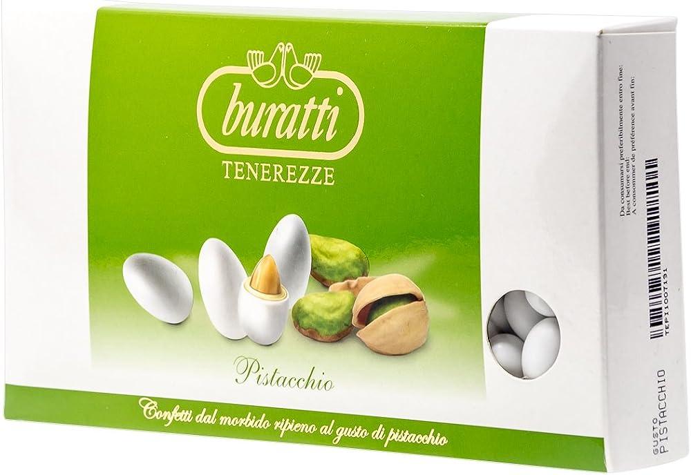 buratti, confetti con ripieno al gusto pistacchio, tenerezze al pistacchio,1 kg