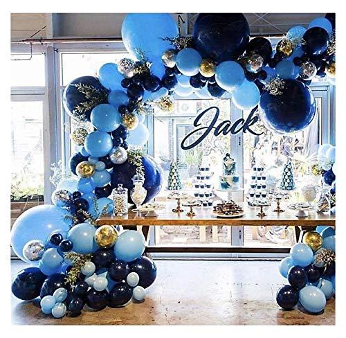 Globo de Papel de Aluminio 106pcs Retro Azul Marino Azul Globos Guirnalda Oro Plata Confeti Globo Arco cumpleaños Boda Fiesta decoración (Color : Navy Blue)
