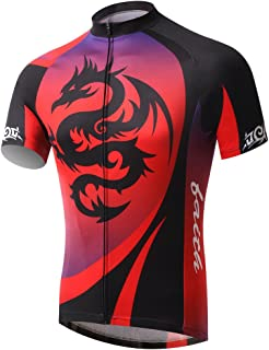 Summer Fashion TeyxoCo Men Red Dragon Cycling Gel Pad Jersey Set