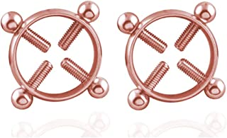CRE-BILITY One Pair Multi-Functional Adjustable Surgical Steel Rings Shields Screw Body Piercing Circle Clamp (Rose Gold)