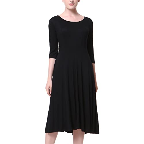 f1df5fb80094 Mixfeer Women s Scoop Neck 3 4 Sleeve Pleated A-line Swing Flare Casual Midi
