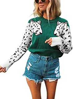RAMOUG Women's Casual Leopard Patchwork Long Sleeve Cable Knit Pullover Sweater