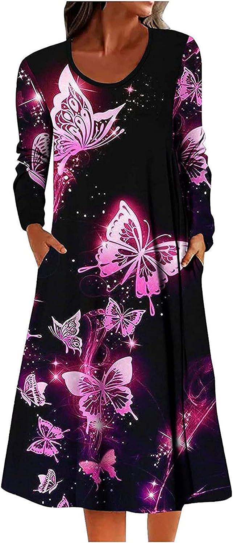 Women Pattern Print Dress Classic O-Neck Long Sleeve T-Shirt Dresses Autumn Fashion Casual Loose Dresses