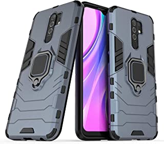 FanTing Case for Xiaomi Poco M2, Rugged and shockproof,with mobile phone holder, Cover for Xiaomi Poco M2-Dark Blue