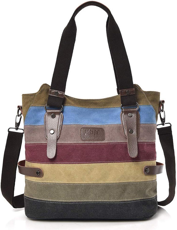 LFGCL Canvas Kontrastfarbe Schulter Messenger Bag weibliche Tasche Canvas Tasche Farbe gestreiften Handtaschen Frauen B07PVRRQ1T  König der Menge