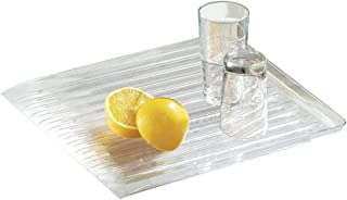 mDesign Escurreplatos para encimera – Práctica Bandeja escurridora para secar vajilla, ollas, sartenes y Utensilios de Cocina – Sistema de Secado rápido - Transparente