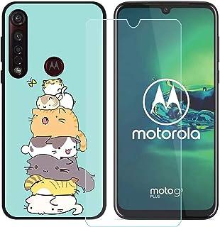 YZKJ Fodral för Motorola Moto G8 Plus Cover svart mjukt silikon skyddande skydd flexibel TPU skal fodral pansarglas skärms...