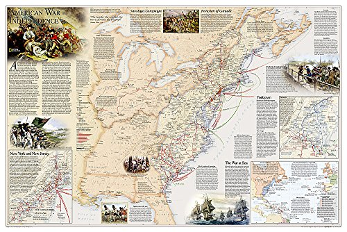 Battles of the Revolutionary War and War of 1812: 2 sided [Folded and Polybagged] (National Geographic Reference Map)