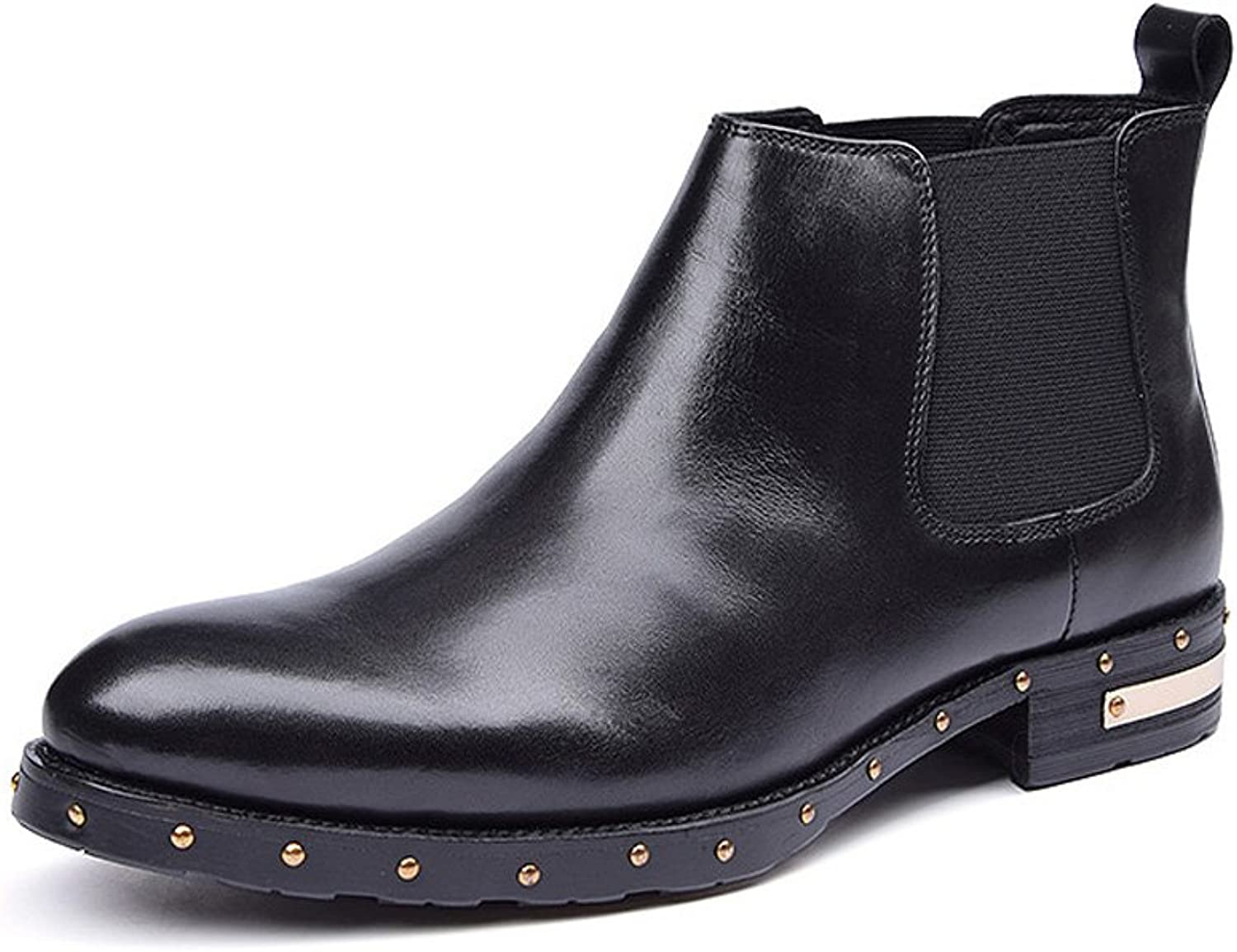 MEbox Men's New Style Leather Flat Boots Tide Martin Pointed Chelsea Boots