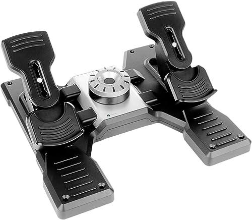 Logitech G Saitek Pro Flight Rudder Pedals, Timón/Pedales para Vuelo y Freno para Simullación de Vuelo, Centrado Auto...