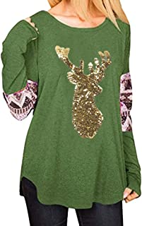 Franterd Tops Women Casual Christmas Sequins Elk Head Print Raglan Colorful Sleeve Patchwork Pullover Blouse