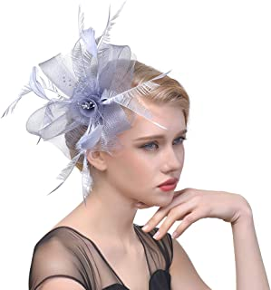 Women Fascinators Hat Flower Feather Net Mesh Kentucky Derby Tea Headdress,Headwear with Hair Clip And Hairband for Derby Kentucky Wedding,Gray