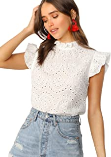 ROMWE Women's Sleeveless Ruffle Stand Collar Embroidery Button Slim Cotton Blouse Top