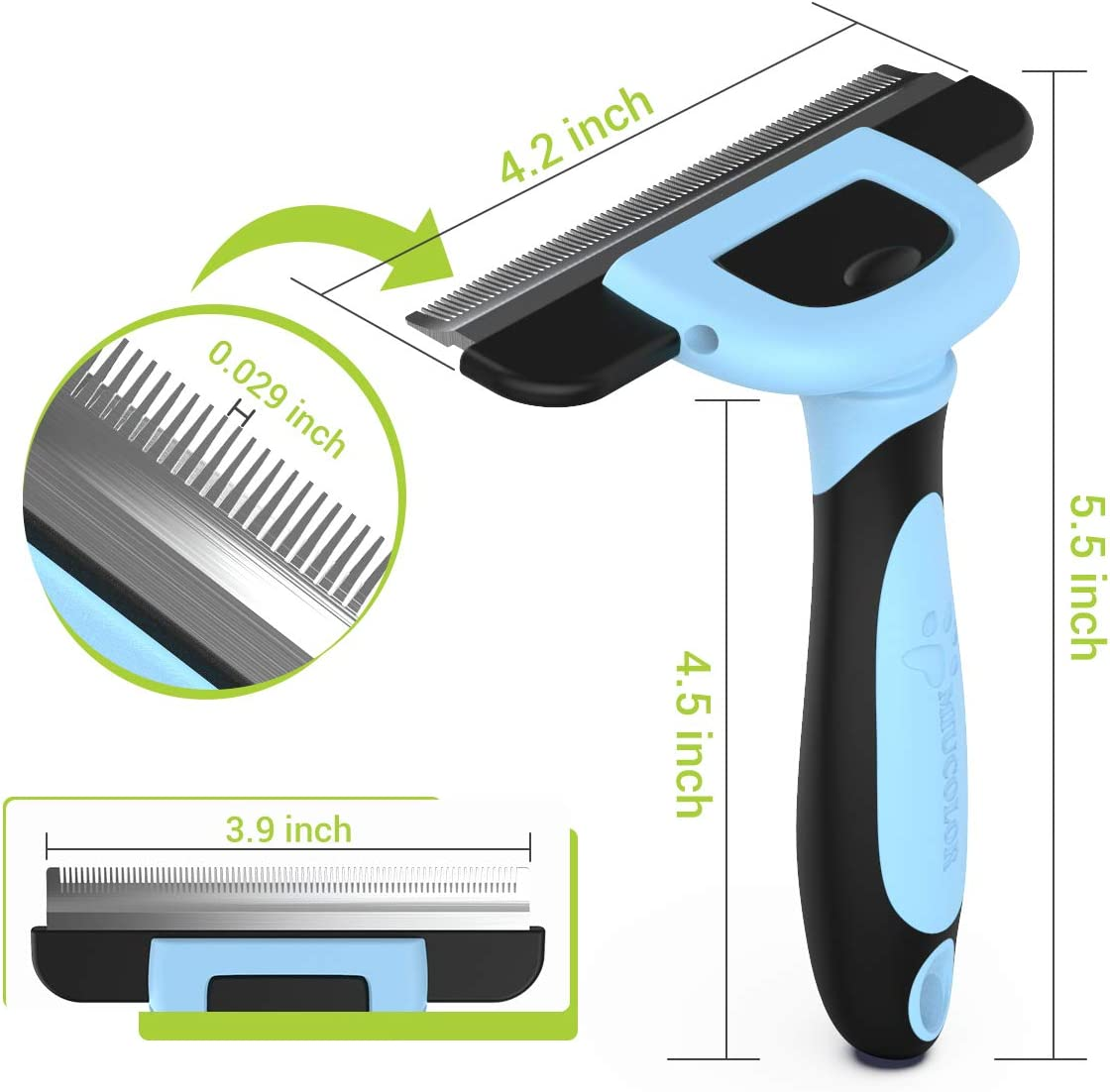 MIU COLOR Pet Deshedding Brush, Professional Grooming Tool, Effectively Reduces Shedding by up to 95% for Short Medium and Long Pet Hair Blue