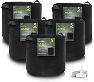 5 Gallon Fabric Pot Garden Grow Bags (5 Pack) by Greenthumbpro for Indoor, Outdoor and Hydroponic Gardening